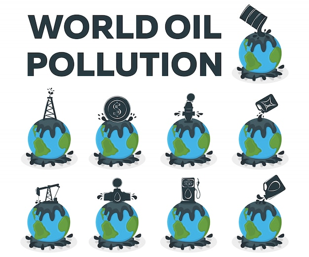 Concept mondial de pollution par les hydrocarbures. pollution de la terre par le pétrole. illustration de dessin animé de catastrophe
