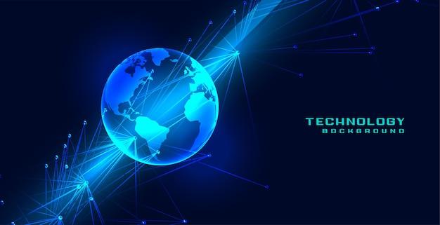 Concept mondial de terre de technologie avec des lignes de réseau