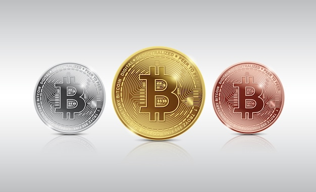 Concept de monnaie numérique et argent numérique bitcoin doré, argent et bronze