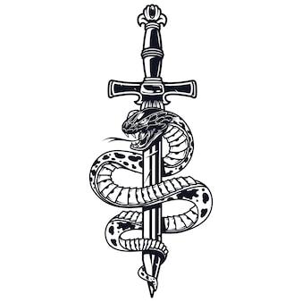 Concept monochrome de tatouage vintage