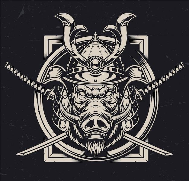 Concept monochrome vintage de guerrier animal
