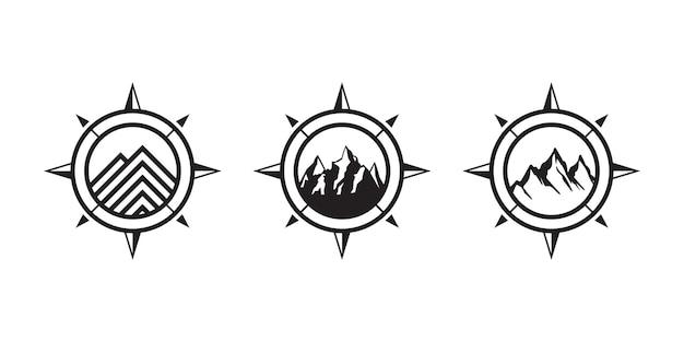 Concept de montagne et de boussole, inspiration de conception de logo d'aventure ou de voyage