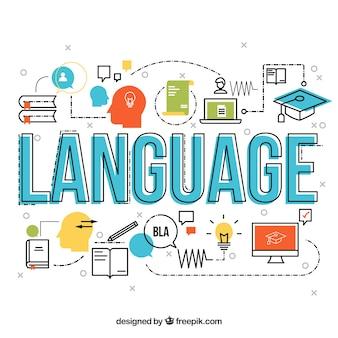 Concept de mot de langue avec un design plat