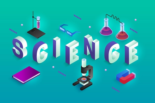 Concept de mot science dans un style isométrique