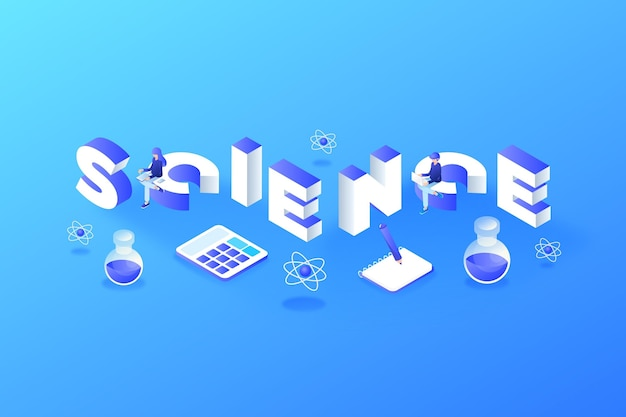 Concept de mot science isométrique avec ensemble d'éléments