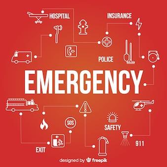 Concept de mot d'urgence moderne avec un design plat