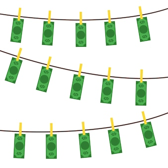 Concept de motif de fond de blanchiment d'argent billets en monnaie sale style design plat. illustration vectorielle