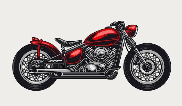 Concept de moto rouge classique dans un style vintage isolé