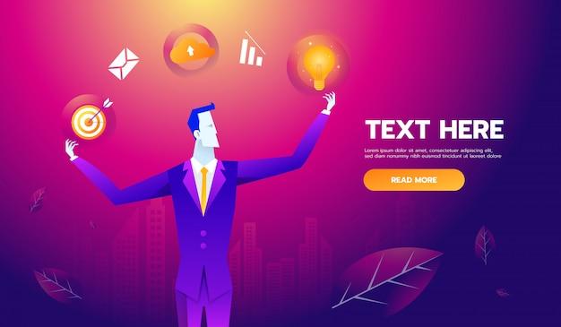 Concept multi-compétences. homme d'affaires avec des icônes de l'entreprise et des compétences.