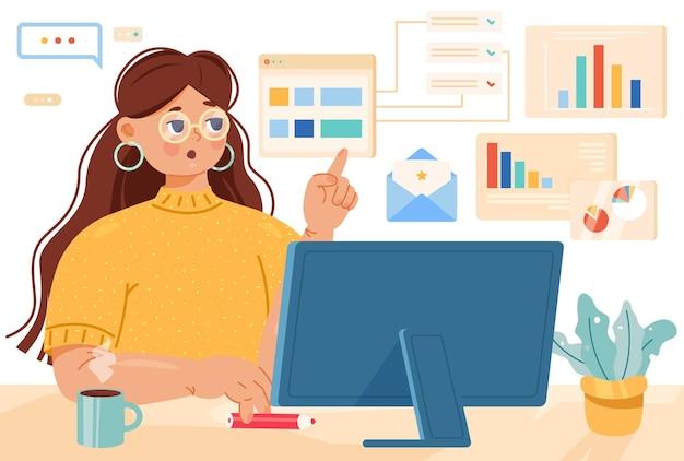 Concept multitâche de femme travaillant en ligne