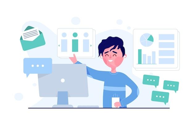 Concept multitâche avec homme au bureau illustré
