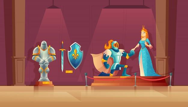 Concept de musée, exposition médiévale. chevalier blindé avec casque