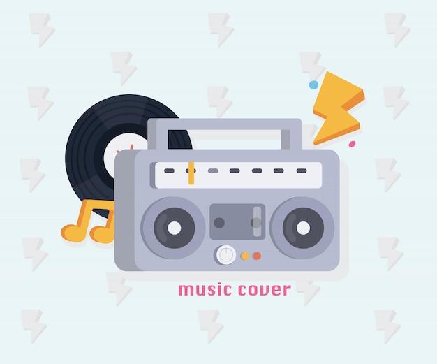 Concept musical avec des outils de musique. boombox, record, notes.