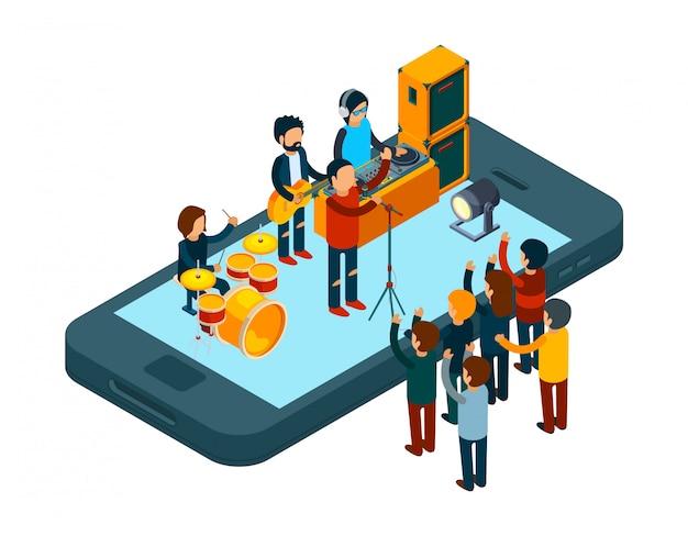 Concept de musique en ligne. application de musique pour smartphone. illustration de concert en ligne isométrique