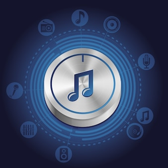 Concept de musique de vecteur avec bouton en métal