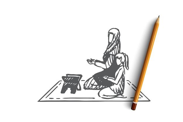 Concept musulman, islam, religion, arabe, mère et fille. main dessinée maman musulmane et fille priant ensemble croquis de concept.