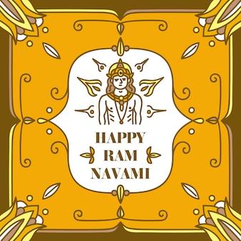 Concept de navami ram dessiné à la main