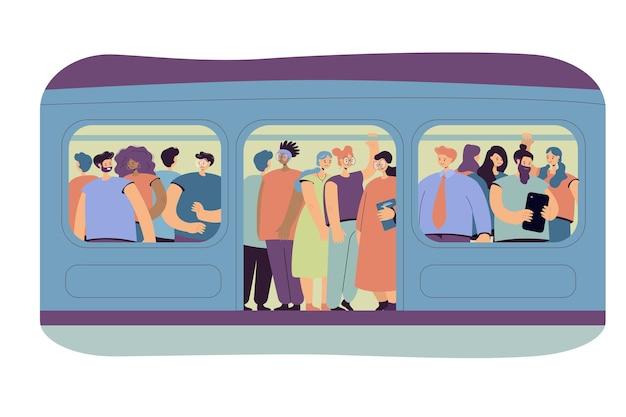 Concept de navettage, de transport et de surpopulation