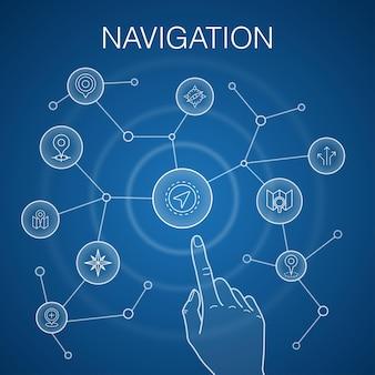 Concept de navigation, fond bleu. emplacement, carte, gps, icônes de direction