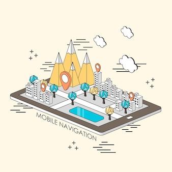Concept de navigation mobile : ville et montagne apparaissant à partir d'une tablette dans un style de ligne