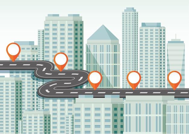 Concept de navigation avec de nombreux bâtiments
