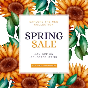 Concept de négociation vente printemps aquarelle