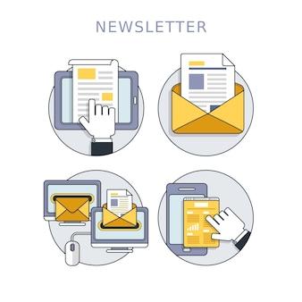Concept de newsletter défini dans un style de ligne fine