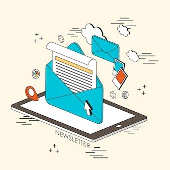 Concept de newsletter : e-mail et informations apparaissant à partir de la tablette dans le style de ligne