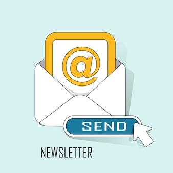 Concept de newsletter: prêt à envoyer un e-mail dans le style de ligne