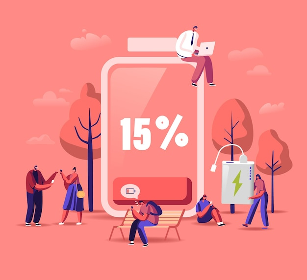 Concept de niveau bas de batterie. les personnages masculins et féminins chargent des appareils, des téléphones mobiles et des gadgets.