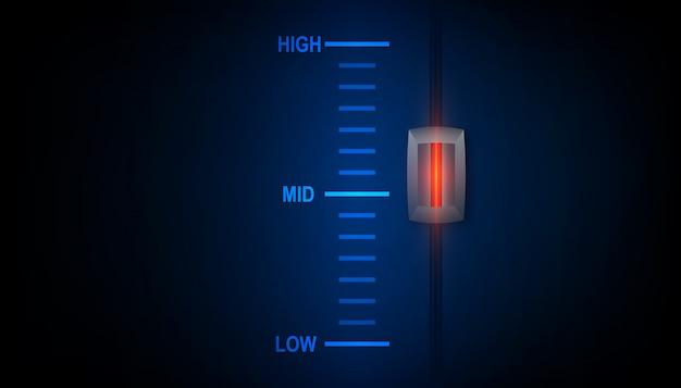 Concept de niveau d'énergie élevé - bouton de contrôle du niveau d'efficacité en position haute.
