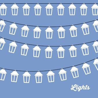 Concept de noël joyeux avec design de lumières de décoration