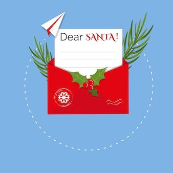 Le concept de noël d'une lettre à l'avion de papier de santa et à l'enveloppe postale