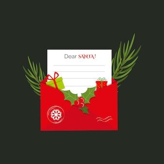 Le concept de noël d'une lettre à la branche de sapin et aux cadeaux d'enveloppe postale de santa red