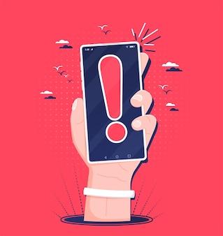 Concept de notification d'erreur ou de logiciel malveillant sur téléphone mobile