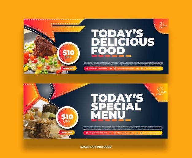 Concept de nourriture délicieuse restaurant délicieux bannière de médias sociaux