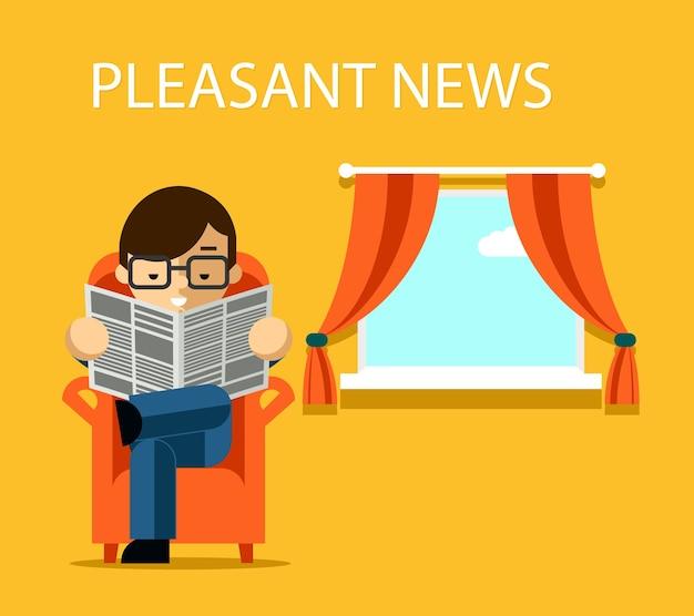 Concept de nouvelles agréable. homme d'affaires lisant le journal avec des nouvelles financières près de la fenêtre. information. illustration vectorielle