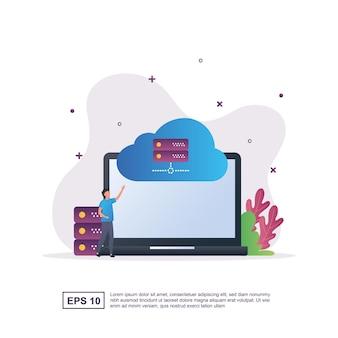 Concept de nuage connectant la technologie informatique