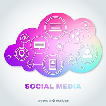 Concept de nuage de médias sociaux