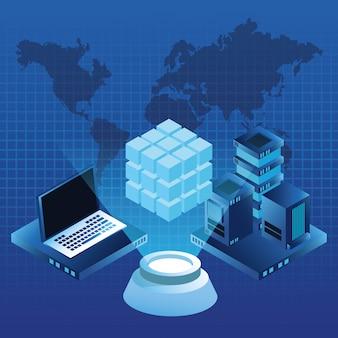 Concept numérique bleu global de technologie