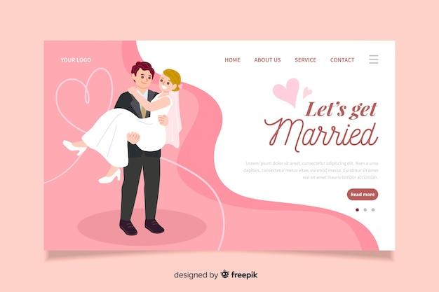 Concept numérique pour la page de destination de mariage