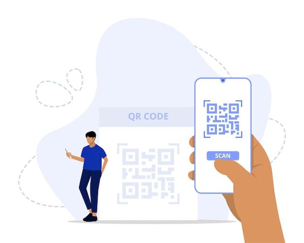 Concept de numérisation de code qr