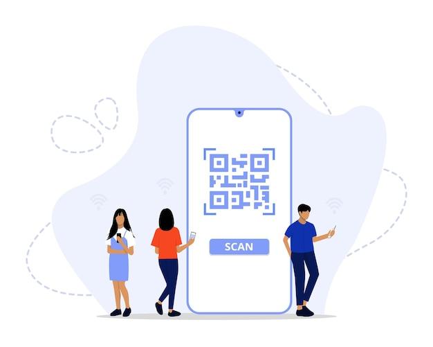 Concept De Numérisation De Code Qr Vecteur Premium