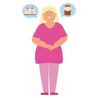 Concept d'obésité infantile illustration vectorielle dans un style plat