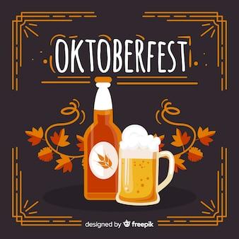 Concept oktoberfest avec arrière-plan dessiné à la main