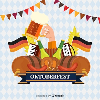 Concept oktoberfest avec fond design plat
