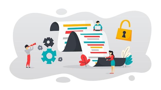 Concept open source. logiciel gratuit pour l'ordinateur. téléchargez et installez le fichier gratuitement. illustration