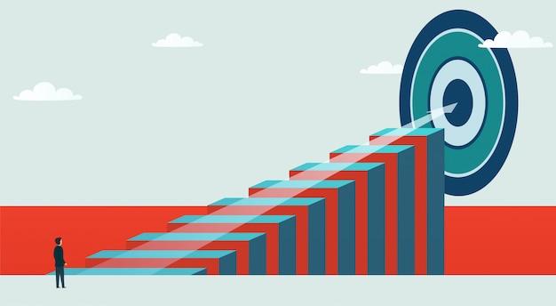 Concept et opportunité commerciale. homme d'affaires se dresse sur le chemin pour atteindre l'objectif.
