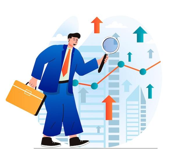 Concept d'opportunité de recherche dans un design plat moderne l'homme d'affaires avec une mallette regarde