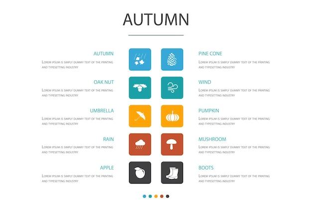 Concept d'option d'infographie 10 d'automne. noix de chêne, pluie, vent, icônes simples de citrouille